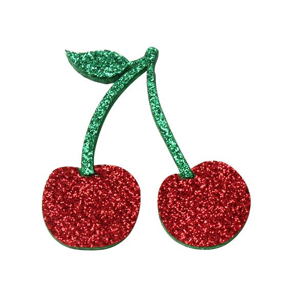 "Glitter Cherries - 1.7"" Felt Applique"