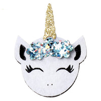 "Unicorn with Cinderella Blue Glitter Flowers - 2"" Felt Applique"