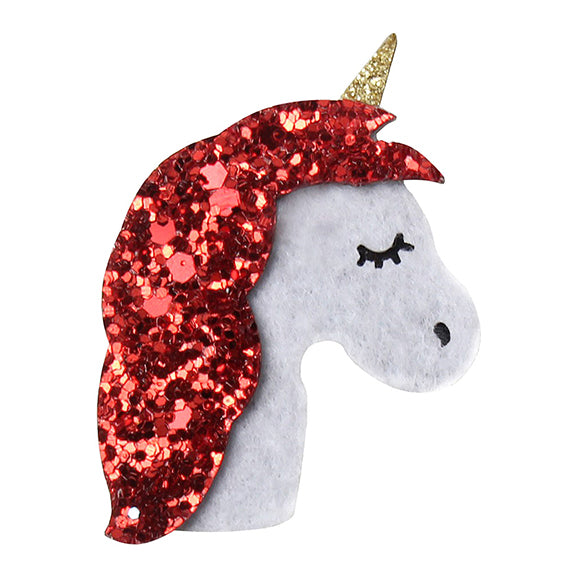 "Unicorn with Red Glitter Mane - 2"" Felt Applique"