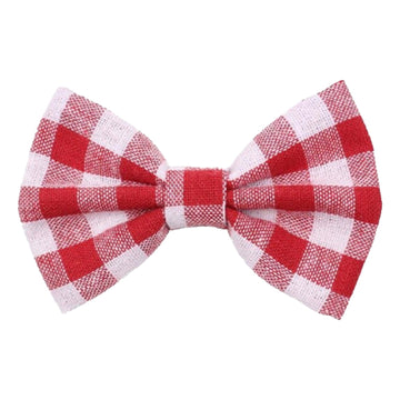 "White + Red Plaid - 4"" Fabric Bow"