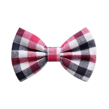 "Pink + Navy + White Plaid - 4"" Fabric Bow"
