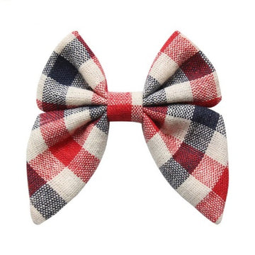 "Red + Navy + Ivory Plaid - 3"" Fabric Sailor Bow"