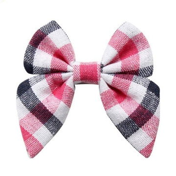 "Pink + Navy + White Plaid - 3"" Fabric Sailor Bow"