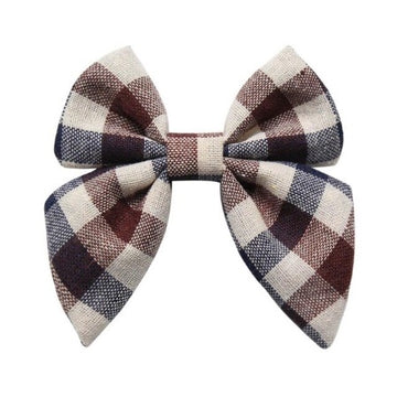 "Brown + Navy + Ivory Plaid - 3"" Fabric Sailor Bow"