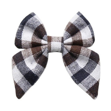 "Brown + Navy + White Plaid - 3"" Fabric Sailor Bow"