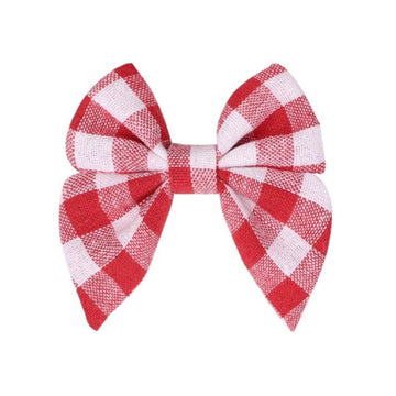 "Red + White Plaid - 3"" Fabric Sailor Bow"