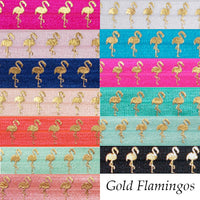 "Mint Green & Gold Flamingos - 5/8"" Metallic Printed Fold Over Elastic"