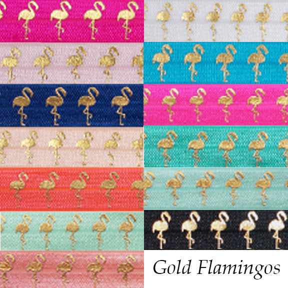 "Island Blue & Gold Flamingos - 5/8"" Metallic Printed Fold Over Elastic"