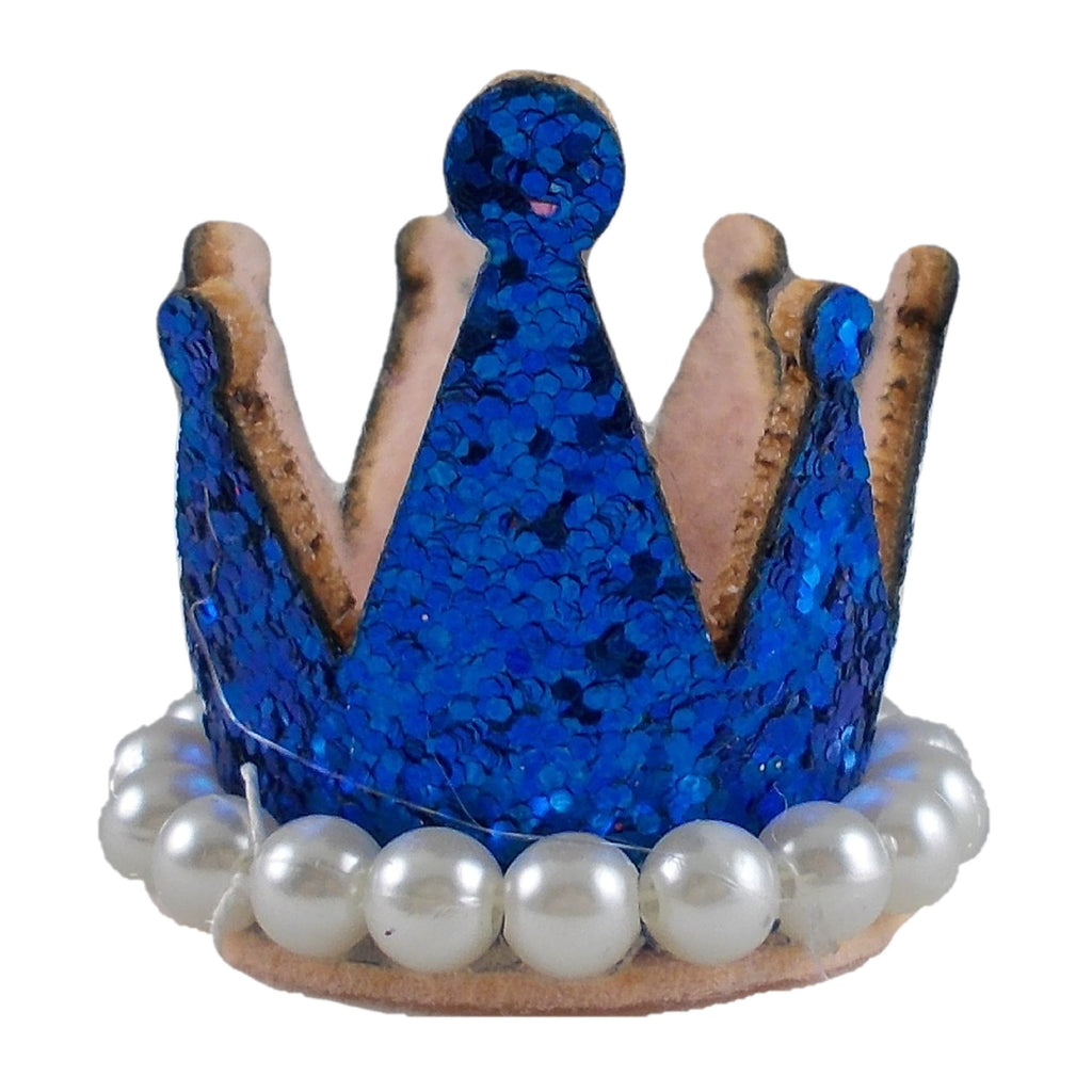 "Royal Blue - 1.5"" Glitter Crown with Pearls"