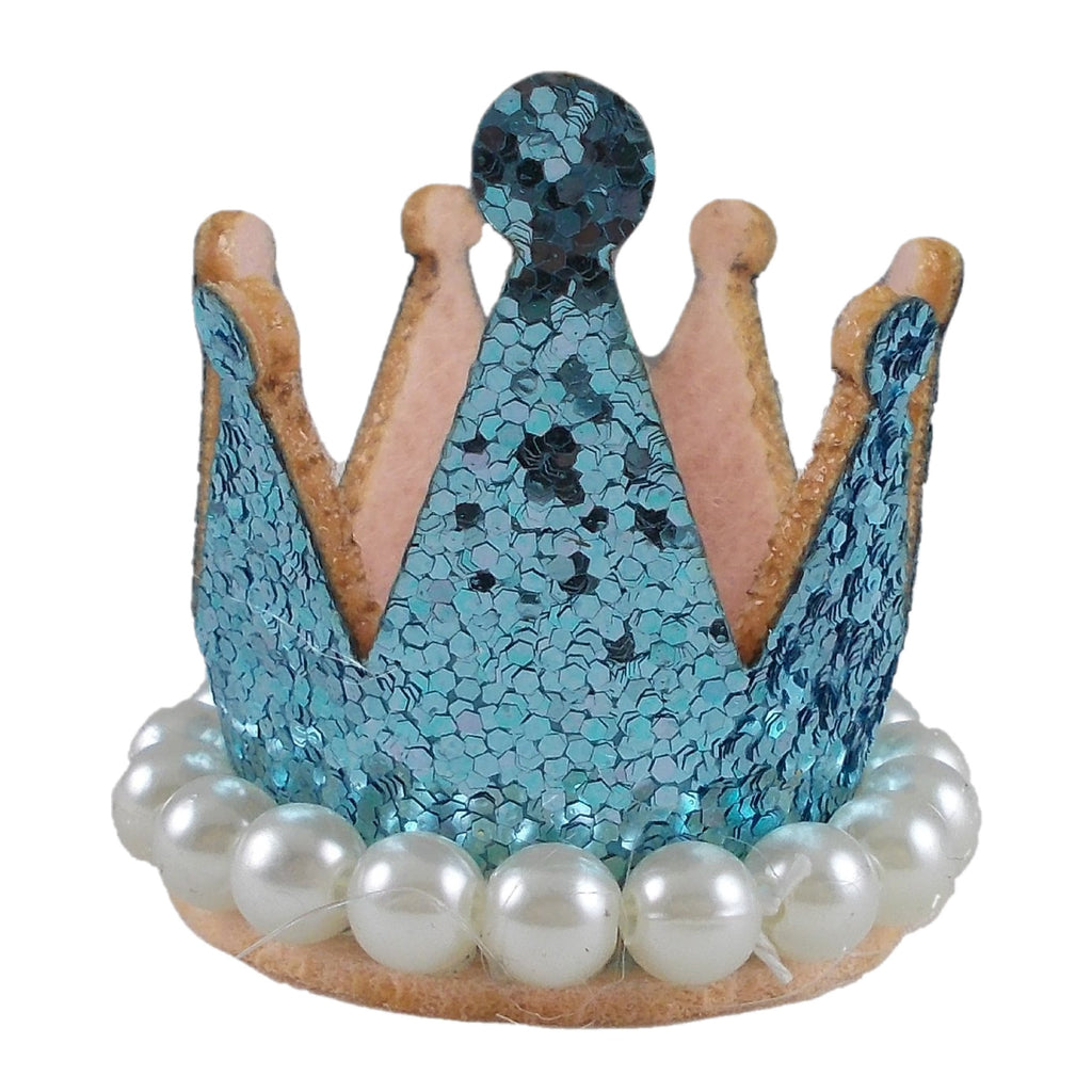 "Aqua - 1.5"" Glitter Crown with Pearls"