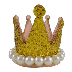 "Gold - 1.5"" Glitter Crown with Pearls"