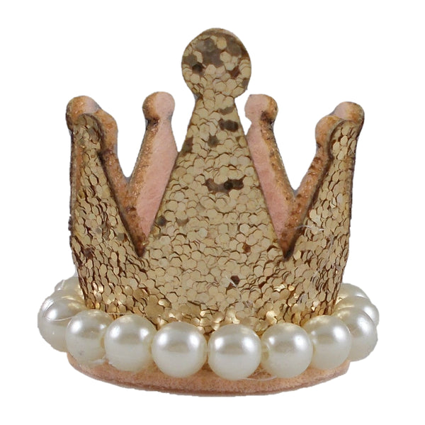 "Light Gold - 1.5"" Glitter Crown with Pearls"