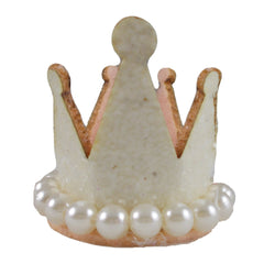 "Cream - 1.5"" Glitter Crown with Pearls"