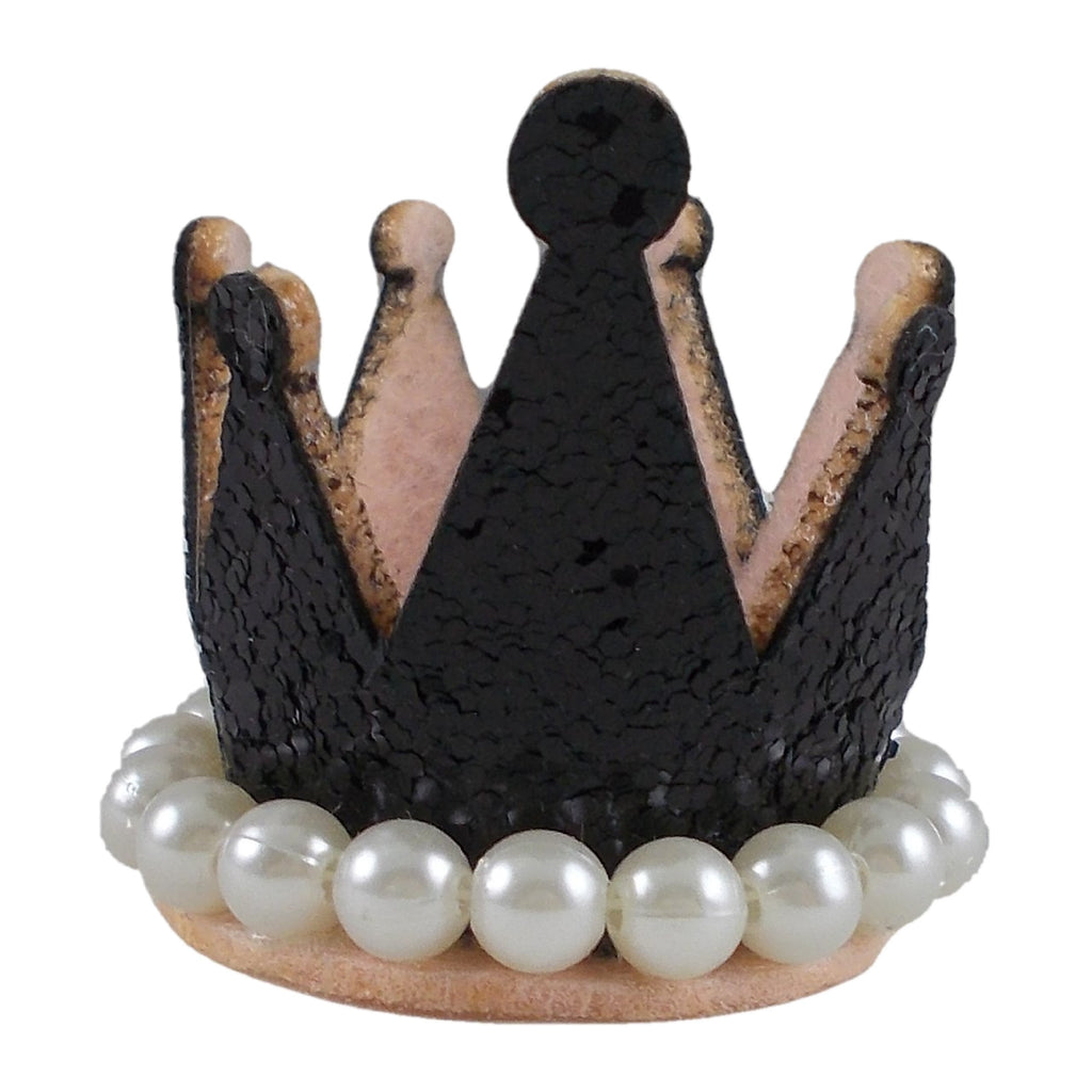 "Black - 1.5"" Glitter Crown with Pearls"