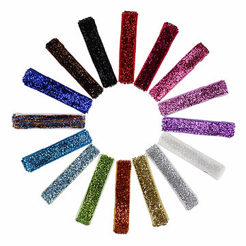Grab Bag - Glitter Partially Lined Single Prong Alligator Clip - 10 Clips