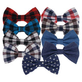"Blue & Black Check - 4"" Fabric Bow"