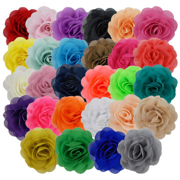 "Sampler - 3"" Silky Chiffon Rose Flower - 28 Flowers"