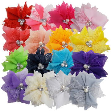 "Grab Bag - 3"" Chiffon Lace Pearl & Rhinestone Flower - 10 Flowers"