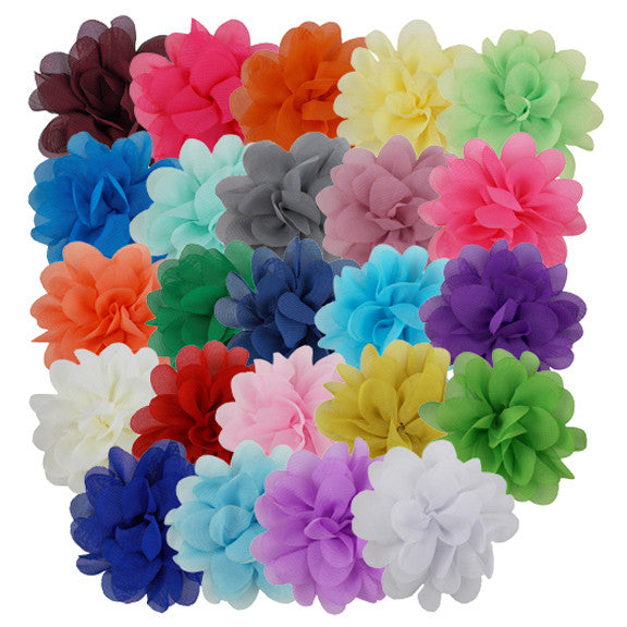 "Sampler - 3"" Chiffon Puff Flower - 24 Flowers"