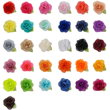 "Grab Bag - 2"" Chiffon Blossom Flower with Leaf - 10 Flowers"