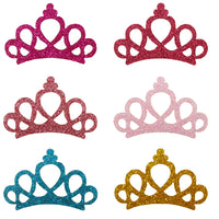"Pale Pink Princess Crown - 1.75"" Glitter & Felt Applique"