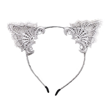Gray Lace - Cat Ears Headband