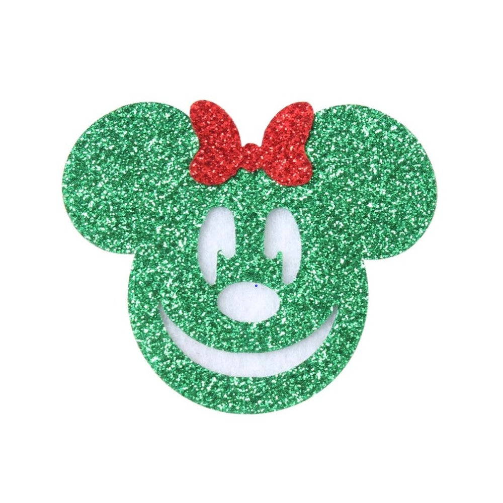 "Green Glitter Mouse - 2"" Felt Applique"