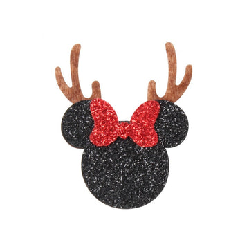 "Black Glitter Reindeer Mouse - 2"" Felt Applique"