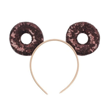 "Brown Donut - 3.25"" Sequins Mouse Ears Headband"