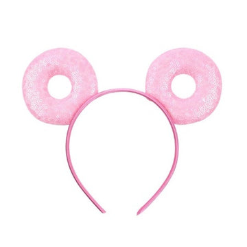 "Pink Donut - 3.25"" Sequins Mouse Ears Headband"