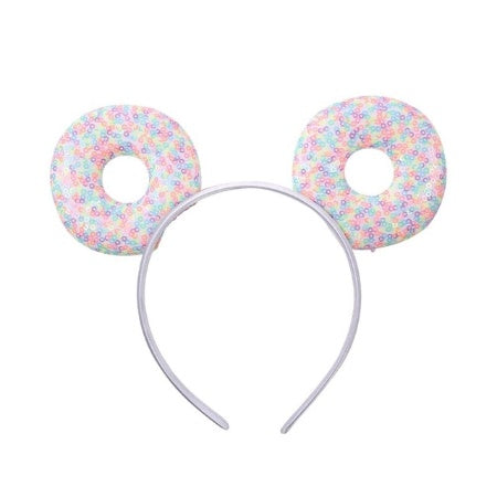 "Candy Confetti Donut - 3.25"" Sequins Mouse Ears Headband"