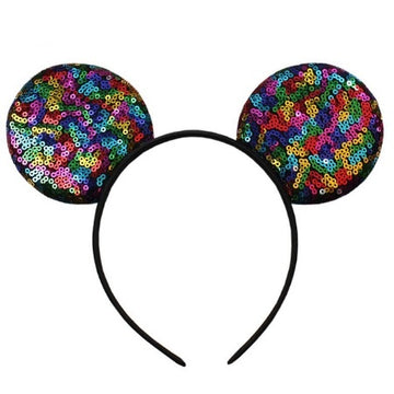 "Black Rainbow - 3.25"" Sequins Mouse Ears Headband"