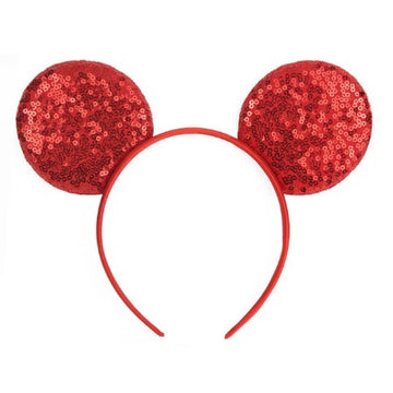 "Red - 3.25"" Sequins Mouse Ears Headband"