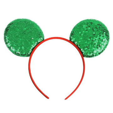 "Green + Red - 3.25"" Sequins Mouse Ears Headband"