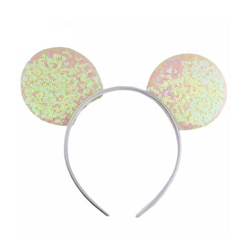"Iridescent - 3.25"" Sequins Mouse Ears Headband"