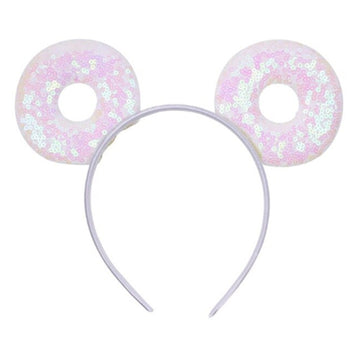 "Iridescent Donut - 3.25"" Sequins Mouse Ears Headband"