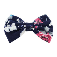 Navy Blue Roses - XL Jersey Knit Bow