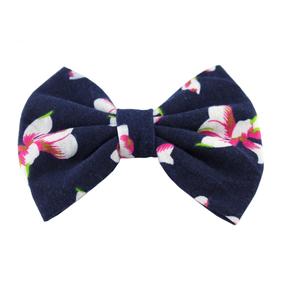 Navy Blue Floral Bows - XL Jersey Knit Bow
