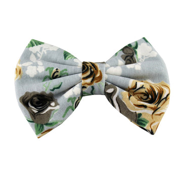 Gray Roses - XL Jersey Knit Bow