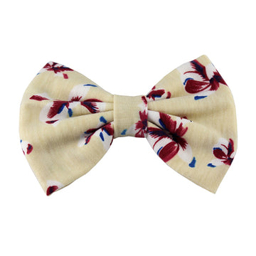Cream Floral Bows - XL Jersey Knit Bow