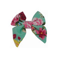 "Aqua Floral - 3"" Jersey Sailor Bow"