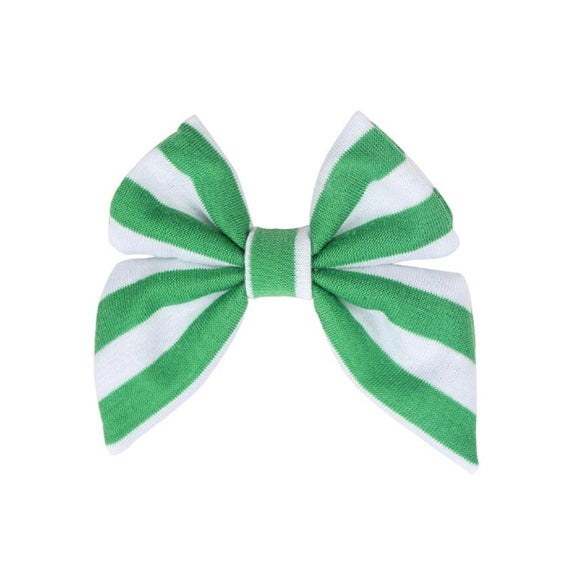 "Green + White Stripe - 3"" Jersey Sailor Bow"