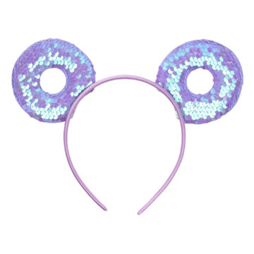 "Lavender Donut - 3.25"" Reversible Sequins Mouse Ears Headband"