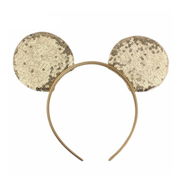 "Light Gold - 3.25"" Sequins Mouse Ears Headband"