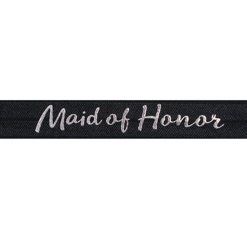 "Black & Silver Maid of Honor - 5/8"" Metallic Printed Fold Over Elastic"