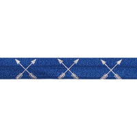 "Navy Blue & Silver Arrows - 5/8"" Metallic Printed Fold Over Elastic"