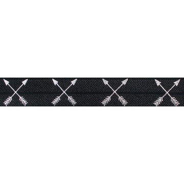 "Black & Silver Arrows - 5/8"" Metallic Printed Fold Over Elastic"