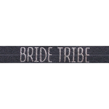 "Charcoal & Silver Bride Tribe - 5/8"" Metallic Printed Fold Over Elastic"