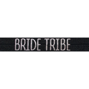 "Black & Silver Bride Tribe - 5/8"" Metallic Printed Fold Over Elastic"