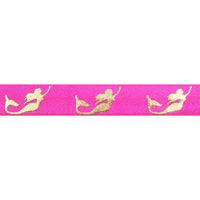 "Hot Pink & Gold Mermaids - 5/8"" Metallic Printed Fold Over Elastic"